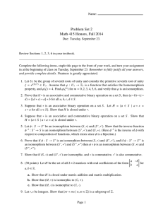 Problem Set 2 Math 415 Honors, Fall 2014
