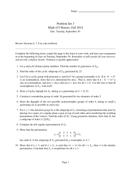 Problem Set 3 Math 415 Honors, Fall 2014