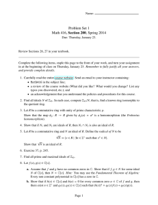 Problem Set 1 Math 416, Section 200, Spring 2014