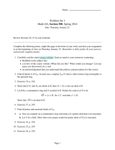 Problem Set 1 Math 416, Section 500, Spring 2014