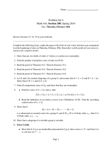 Problem Set 4 Math 416, Section 200, Spring 2014