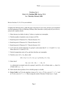Problem Set 4 Math 416, Section 500, Spring 2014