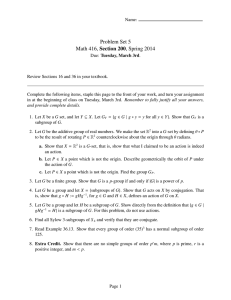 Problem Set 5 Math 416, Section 200, Spring 2014