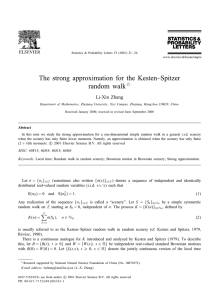 The strong approximation for the Kesten–Spitzer random walk  Li-Xin Zhang