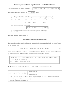 Nonhomogeneous Linear Equation with Constant Coefficients (∗)