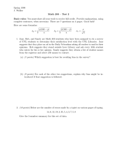 Spring 1998 J. Walker Math 203 – Test 2
