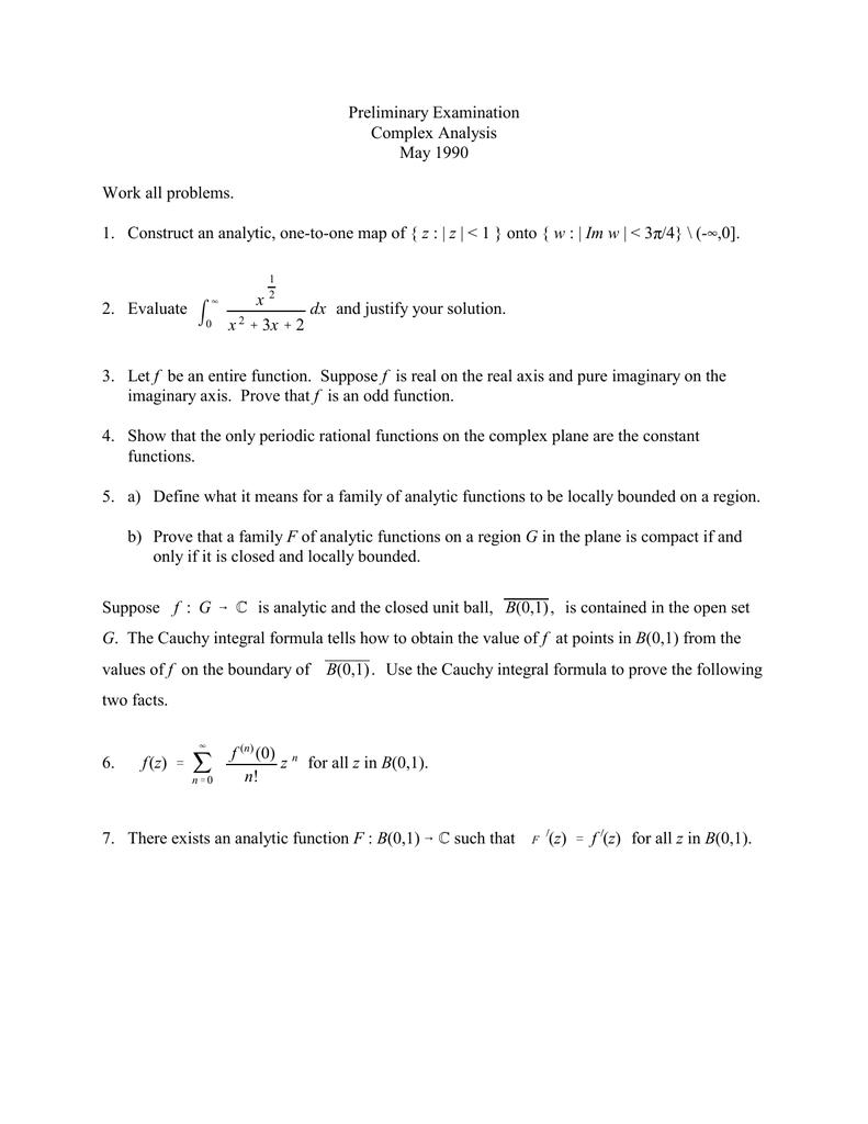 4,0]  x dx Preliminary Examination
