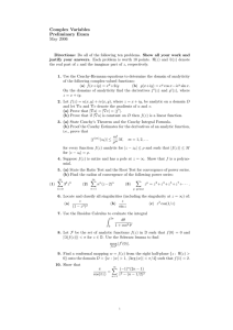 Complex Variables Preliminary Exam May 2006