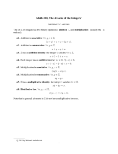 Math 220, The Axioms of the Integers