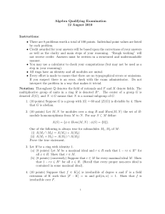 Algebra Qualifying Examination 12 August 2010 : Instructions