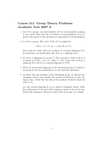 Course 311: Group Theory Problems Academic Year 2007–8