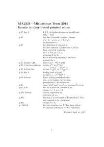MA2321—Michaelmas Term 2015 Errata in distributed printed notes