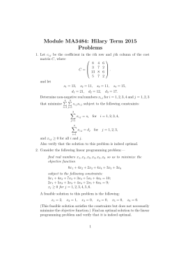 Module MA3484: Hilary Term 2015 Problems