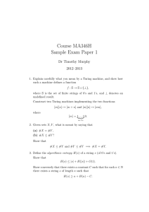 Course MA346H Sample Exam Paper 1 Dr Timothy Murphy 2012–2013