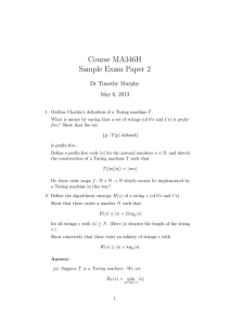 Course MA346H Sample Exam Paper 2 Dr Timothy Murphy May 6, 2013