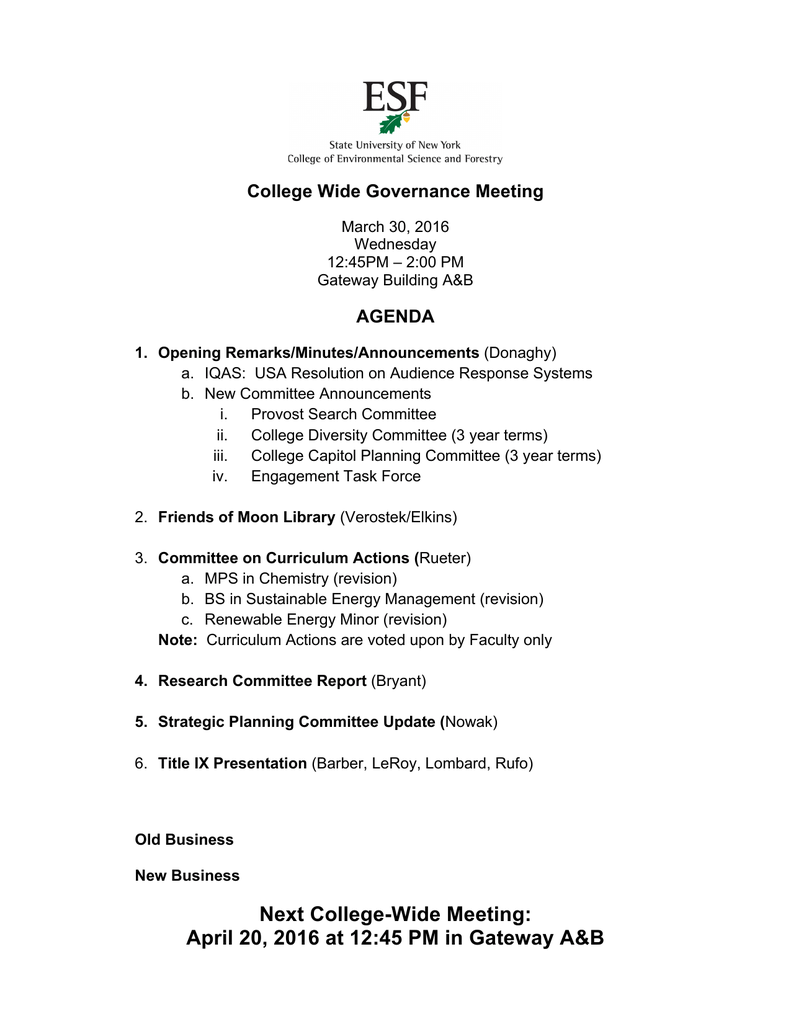 College Wide Governance Meeting AGENDA