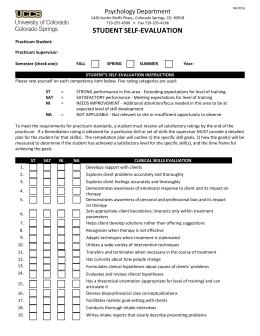 STUDENT SELF EVALUATION Psychology Department