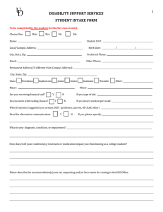 DISABILITY SUPPORT SERVICES STUDENT INTAKE FORM 1