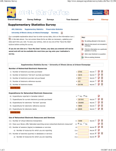 Supplementary Statistics Survey ARL Statistics Survey  Logout