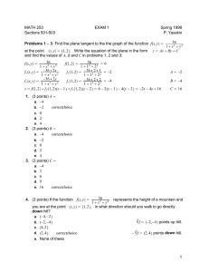 MATH 253 EXAM 1 Spring 1998 Sections 501-503