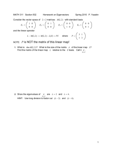 MATH 311 Section 502 Homework on Eigenvectors Spring 2010 P. Yasskin