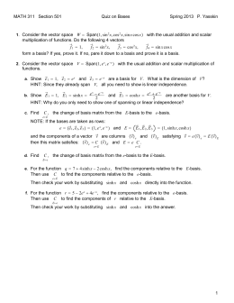 MATH 311 Section 501 Quiz on Bases Spring 2013 P. Yasskin