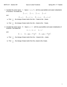 MATH 311 Section 501 Quiz on Linear Functions Spring 2013 P. Yasskin