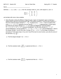 MATH 311 Section 501 Quiz on Chain Rule Spring 2013 P. Yasskin Name:____________________________________