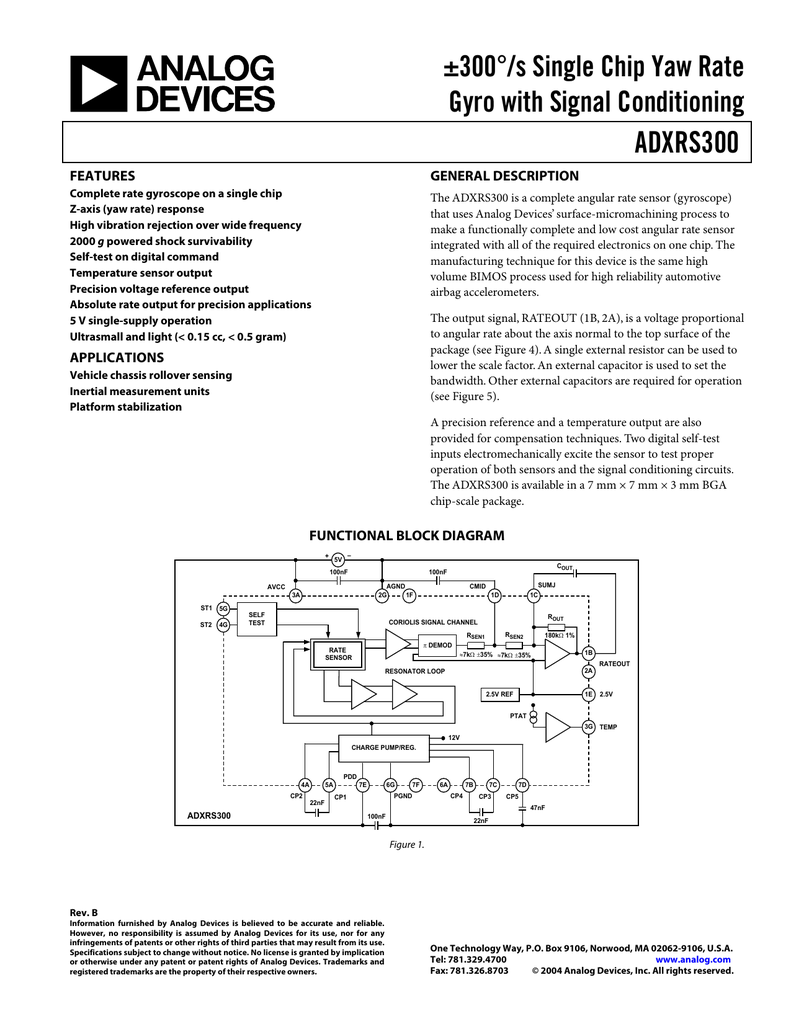 ADXRS300 ±300°/s Single Chip Yaw Rate Gyro with Signal Conditioning