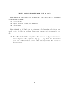 MATH 5399-001 HOMEWORK DUE 10 MAR