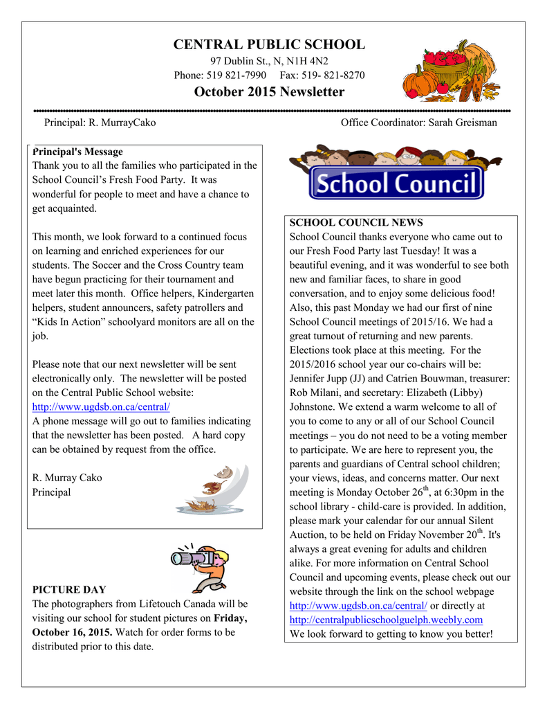 CENTRAL PUBLIC SCHOOL October 2015 Newsletter