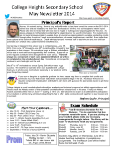 College Heights Secondary School May Newsletter 2014 Principal's Report