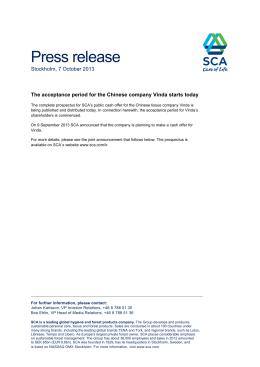 Press release Stockholm, 7 October 2013