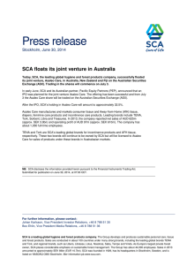 Press release SCA floats its joint venture in Australia