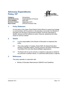 Advocacy Expenditures Policy 107 1. Policy Statement