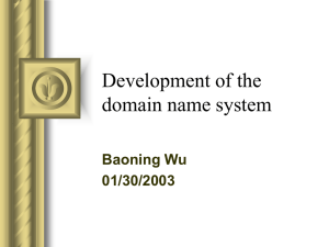 Development of the domain name system Baoning Wu 01/30/2003