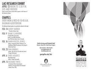 LACI REsEARCh ExhIbIT ChAPELs APRIL 13 noon To 3:30 P.m.