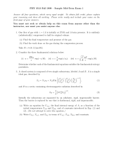PHY 3513 Fall 1999 – Sample Mid-Term Exam 1