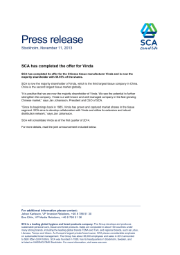 Press release SCA has completed the offer for Vinda
