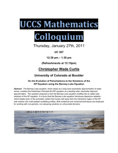 UCCS Mathematics  Colloquium  Thursday, January 27th, 2011 Christopher Wade Curtis