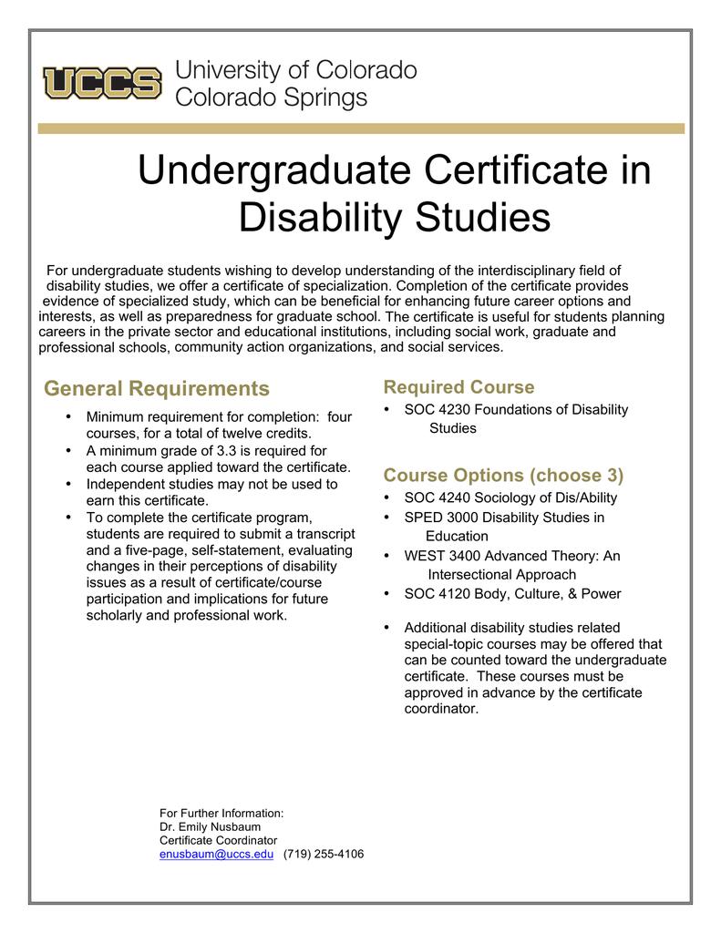 Undergraduate Certificate In Disability Studies