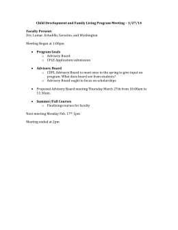 Child Development and Family Living Program Meeting – 1/27/14 Faculty Present: