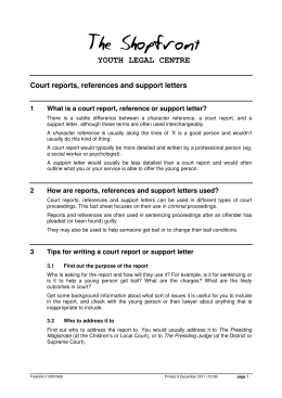 YOUTH LEGAL CENTRE Court reports, references and support letters 1