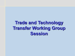 Trade and Technology Transfer Working Group Session