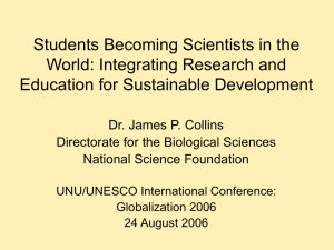 Students Becoming Scientists in the World: Integrating Research and