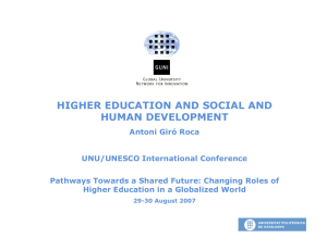 HIGHER EDUCATION AND SOCIAL AND HUMAN DEVELOPMENT