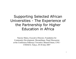 Supporting Selected African Universities - The Experience of the Partnership for Higher