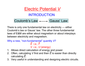 V INTRODUCTION Coulomb's Law Gauss' Law