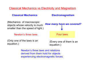 Classical Mechanics vs Electricity and Magnetism