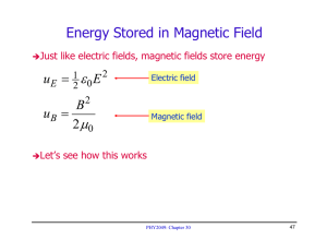 Energy Stored in Magnetic Field ε μ =